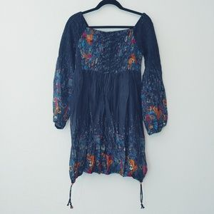 Urban Nomad Blue/Multicolor Boho Top. Size XL